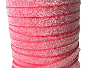 5/8 Glitter Stretch Velvet Elastic 5 YARDS - NO FLAKE - Frosty Melon
