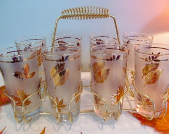Set Tumblers in Caddy - 8 - 12 oz. Gold Leaves Frosted Glasses in Carry Holder Shabby Autumn Cottage