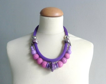 Purple chunky statement necklace rope jewelry