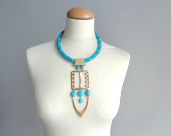long turquoise gold necklace rope long statement necklace