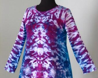 Tie Dye Shirt, Large Asymmetrical Tunic, Inkblot Ice Dye, tie dye t shirt by GratefulDan, grateful dead music festival tie dye shirt