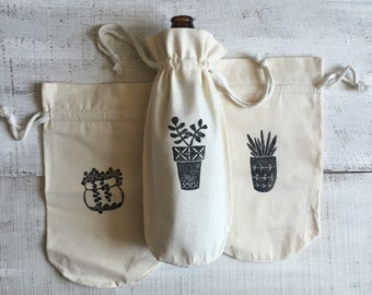 Block Printed Cotton Drawstring Craft Brew or Wine Gift Baggie - Potted Succulent Black