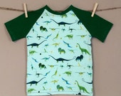 shortees raglan tee - dino - available in infant and big kid sizes
