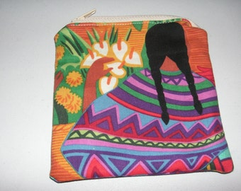 Mexican Henry Zocalo spanish handmade fabric coin change purse card holder
