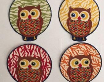 Autumn Owls - Iron On Fabric Appliques - Fall Moon