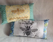 Mini Lumbar Pillow Screenprint God Save the Queen or Golden Bee Your Choice of One