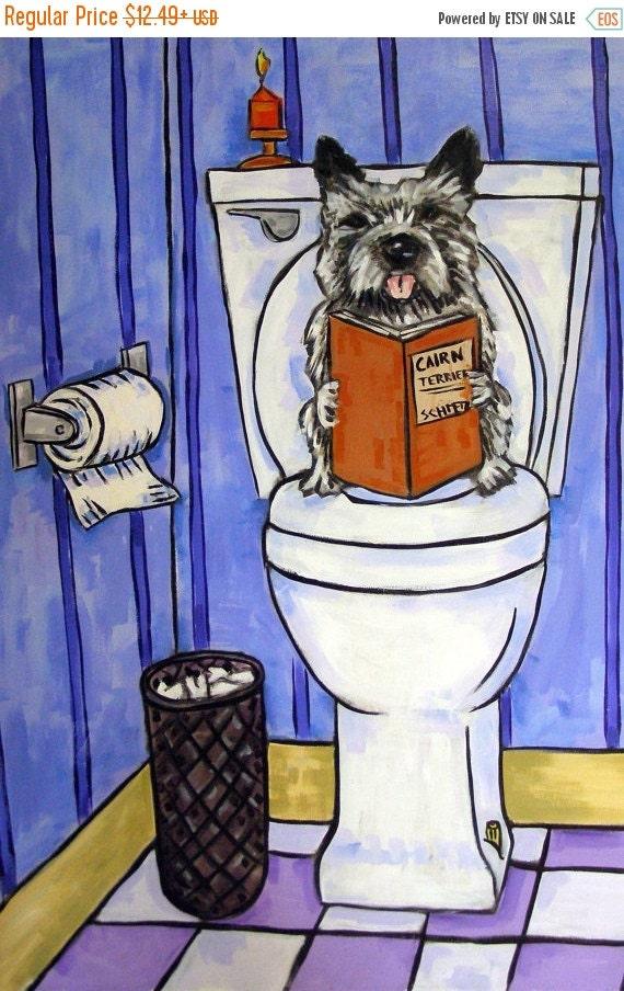 ON SALE Cairn Terrier, Bathroom art, Dog PRINT,   modern, dog, dog art, cairn terrier print
