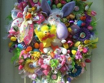 Pre-order XL Easter wreath, Custom order made to order, Spring wreath, Annalee bunny,  Easter bunny, door wreath