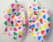 Heart Bow - Pinwheel Style - No Slip Velvet Grip Hair Clip