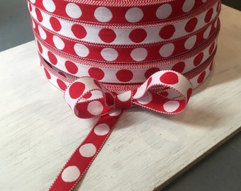 VINTAGE - Reversible Red Polka Dot Ribbon