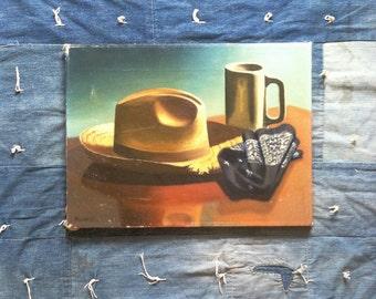 Vintage Americana oil painting • Paul Miller 1951