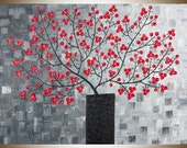 """Modern red flower branches acrylic painting black vase abstract still life home decor wall decor wall art """"Red Delight"""" by QIQIGALLERY"""