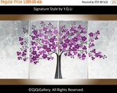 """Modern Wall Art abstract painting white flower painting wall art wall decor Palette Knife impasto canvas art """"Purple Blossom"""" by QiQiGallery"""