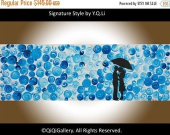 """Abstract painting original artwork blue umbrella painting wall art Impasto love couple Canvas art gift for couple """"Umbrella"""" by QIQIGallery"""