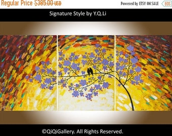 """54"""" Love birds acrylic painting Wall decor Wall art wall hangings Decortive arts """"Magic Love"""" by qiqigallery"""
