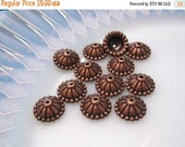 50% Off Sale 20 pcs Bead Caps in Antique Copper with a domed top 5x11mm - Kumihimo Supplies BC 052