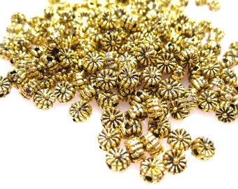 50% Off Beads, Metal Spacers, 25 pcs of Antique Gold Fluted Edged 5x4mm SunFlower Rondelle Spacer beads with an approx. 1mm hole MB1009 A16