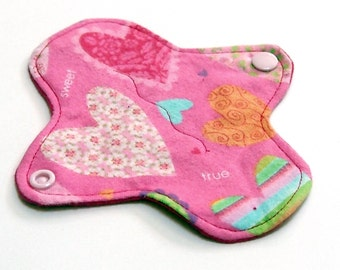 """6"""" Reusable Cloth winged ULTRATHIN Pantyliner - Cotton flannel top - Conversation Hearts"""