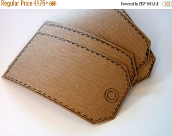 SUMMER SALE Set of 6 hand printed parcel tag kraft paper stickers in kraft brown.  Self adhesive labels, gift tags, bookplates, packaging, h