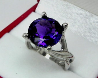AAAA Amethyst   11x11mm  4.60 Carats   14K White gold gold - ELKE- ring 0725
