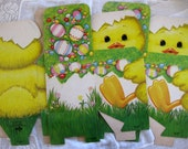 Vintage Russ Easter Chick Cardboard Boxes, Set of Three, Table Decoration, Easter Basket Box