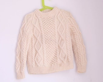 vintage children's sweater irish wool cable knit size 4t 5t