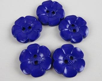 5 Medium Bright Purple Flower Buttons