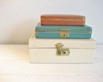 Set of 3 Vintage Jewelry Boxes- Storage, Display, Teal, Old World, Shabby Chic