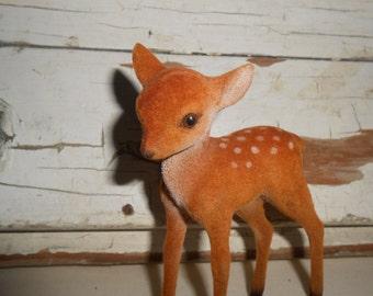 Vintage Felted Baby Deer, Vintage Fawn, Deer Figurine