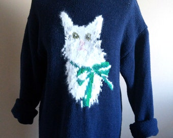 Navy Blue 90's Cat Sweater