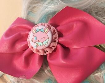 Big Jewelpets Luna Bunny Pink Fake Leather Fairy Kei Bow Hair Barrette (1 pcs)