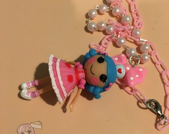 Lalaloopsy Nurse Dangle Doll Figure Bow Pink Beaded Necklace
