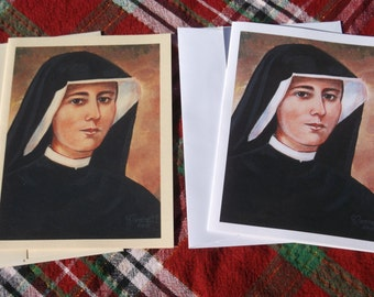 Saint Maria Faustina Kowalska, Apostle of The Divine Mercy 4 1/4 X 5 1/2 Ivory and White Stationary Card of Original painting, Catholic Art,