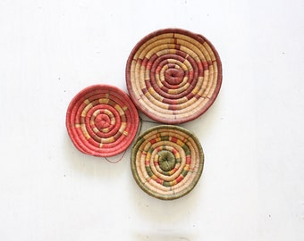 Woven Basket Wall Hanging Round Weaving Sculptural, Set of 3