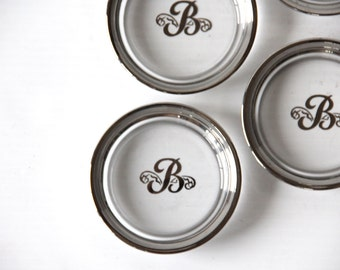 "Set of Monogram ""B"" Silver Rimmed Coasters.  Beautiful Gift"