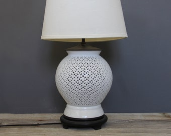 Large Pierced Porcelain White Blanc de Chine Lamp