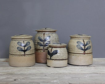 Set of Stoneware Kitchen Storage Jars