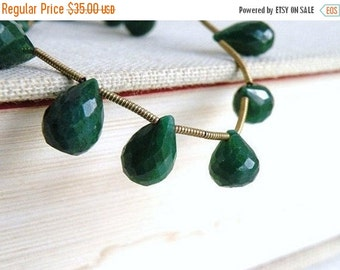 Clearance SALE Emerald Gemstone Briolette Faceted Teardrop 11.5 to 13mm 5 beads