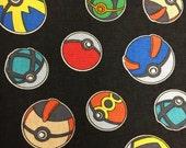 Pokemon Fabric - Half Yard - Poke Balls Pokemon Go - Cotton Quilting Fabric