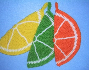 Fruit Slice Potholders, Set of 3, Crocheted Potholders, Orange Slice, Lime Slice, Lemon Slice, Fruit Potholders and Hot Pads