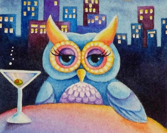 Blue Night Owl City Skyline Moon Stars Limited Edition ACEO Giclee Print reproduced from the Original Watercolor