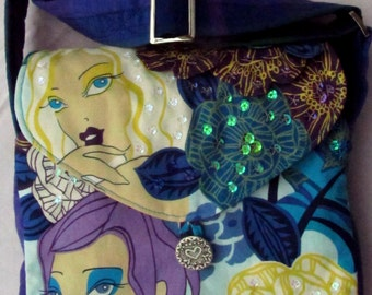 Beautiful Blue Lilac Faces Crossbody SpanglyBaggles Zip Pocket Handbag Evening Purse