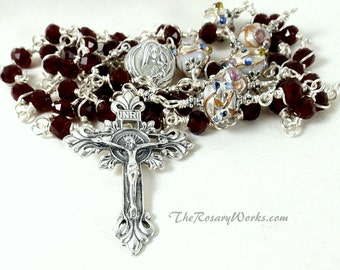 St Therese Rosary Relic Handmade Wedding Cake Beads Dark Red White Traditional Catholic 5 Decade Wire Wrapped Unbreakable Prayer Beads