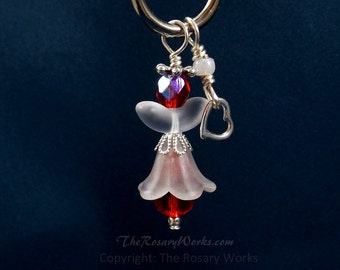Christmas Angel Charm Guardian Angel Charm Red Angel Crystal Auto Angel Charm Purse Fob White Unbreakable Wire Wrapped Stocking Stuffer