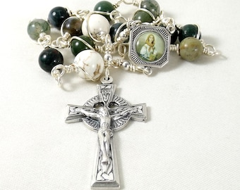 St Dymphna Rosary Beads Single Decade Chaplet Irish Celtic Green White Sacred Heart Wire Wrapped Unbreakable Martyr
