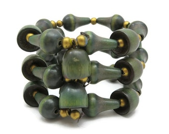 Beaded Wood Bracelet - Vintage Green Wire Wrap Adjustable