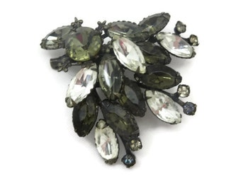 Costume Jewelry Rhinestone Brooch - Clear, Grey Stones