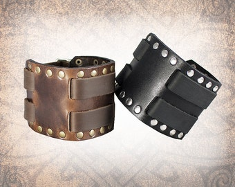 Rivet Cuff - Leather Wristband, Mens Cuff, Brown Cuff, Leather Bracelet, Black Leather Cuff, Leather Band - Custom to You (1 cuff only)