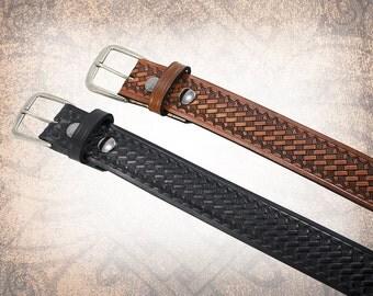Basketweave Belt - Black or Brown - Black Leather Belt, Leather Belt, Mens Leather Belt, Brown Leather Belt, Brown Belt (1 Belt Only)