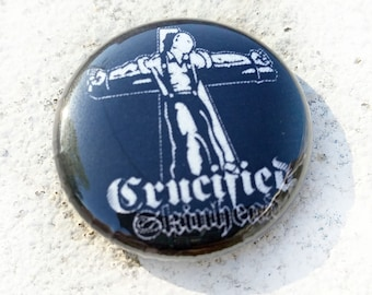 Crucified Skinhead 3D 1 inch Button